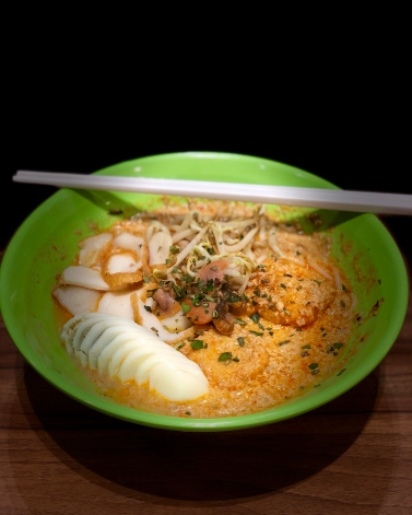 Laksa to the rescue!Laksa is a spicy noodle soup popular in the Peranakan cuisine. Laksa consists of noodles with chicken, prawn or fish, served in spicy curry coconut milk