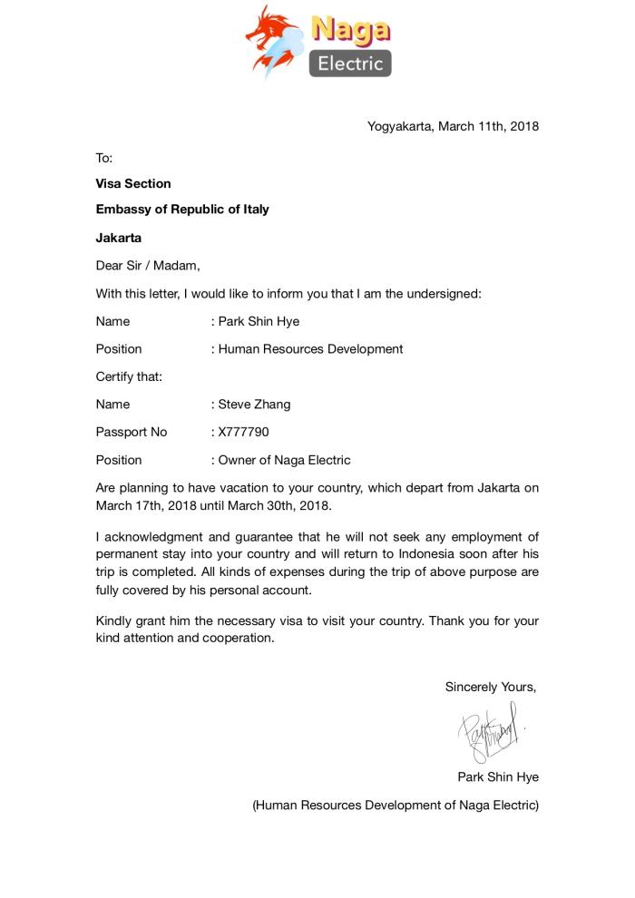 Surat Sponsor Italy Steven