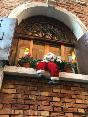 Santa Claus sit down at the window and enjoy the melancholy view