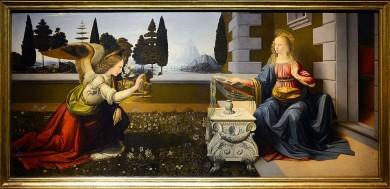 Leonardo da Vinci and Andrea del Verrocchio, 'Annunciation' sumber ©WikiCommons