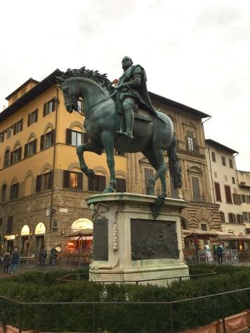 Giambologna, Equestrian monument of Cosimo I de' Medici, 1587-94, bronze, piazza della Signoria Florence. Cool statue, fitting tribute to the great ruler from Medici family