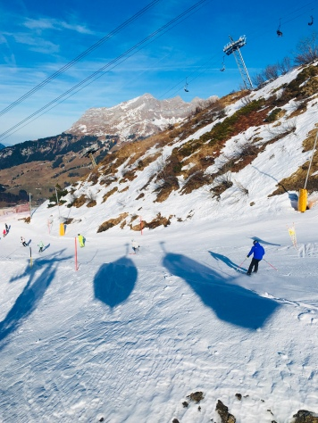 We spotted some skiers racing downhill leaving behind crisscrossing trails on the slopes of the mountain. This place attract elite skiers and beginners from all over the world