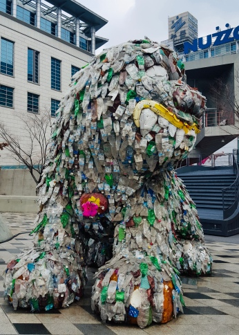 A dog made out of recycled plastic bottles in front of Dongdaemun Plaza. Wuk!