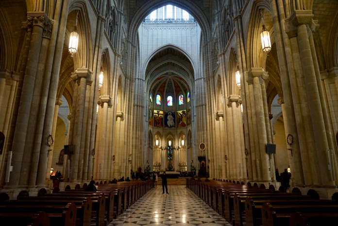 Calm and Serene. Incredible stained glass, casting cool light inside