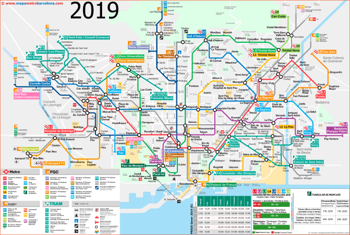 Barcelona Metro, Train, and Tram Map 2019