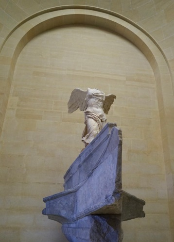The Louvre's top three most important pieces. one of the oldest and most influent marble statues in the world, The Winged Victory was discovered in 1863 in the island of Samothrace. The meaning behind the statue is still a mystery, some believe it was erected by a Macedonian general after a naval victory and represents the Goddess Nike. The sense of motion in this statue is what impresses anyone, you don't need any imagination to see, the wind blowing her thin cloth while she stood in a strong forward motion