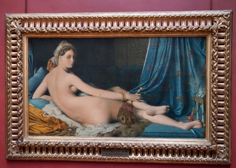 Made for Napoleon's sister, Queen Caroline Murat. During the Romantic Era, when the Orientalism was a trend, young ladies, often naked, dancing or laying in Sultans's beds were often painted as a symbol of exotism and erotism. Painting women looking over their shoulders also seemed to be a trend back then and this same pose can be seen in different paintings and statues of that time.