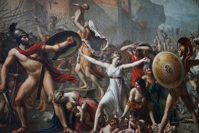 The painting represents a legendary episode of Roman mythology with the Sabine women interposing themselves to separate the Romans and Sabines soldiers. The question is: why are the guards naked in the middle of a battle?