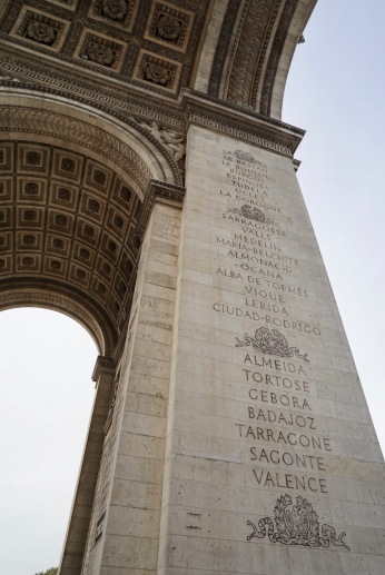 The names of all French victories and generals inscribed on its outer surfaces