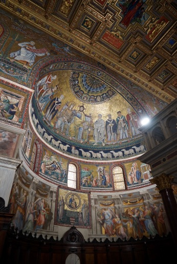 The 13th-century Cavallini mosaics in the apse. In the apse, look out for the dazzling depiction of Christ and his mother flanked by various saints